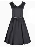 Lindy Bop 'Daria' Audrey Hepburn Black Satin Vintage 50s Swing Dress Sz 10 BNWT