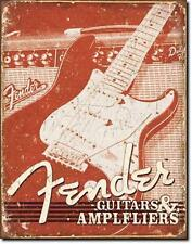 Fender Guitars & Amplifiers USA Gitarren Retro Designer Metall Plakat