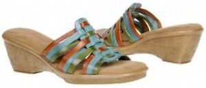 Connie Waverly slide wedge leather sandal sz 6 Med NEW