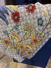 Square GG Pattern Shawl Scarf Blue Floral Design