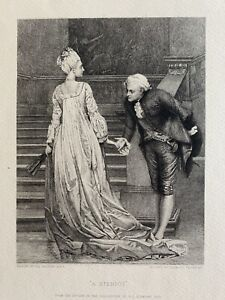 "Leopold Flameng after Val Prinsep etching ""A Bientot"" c1880"