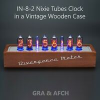 IN-8-2 Nixie Tubes Clock in a Vintage Wooden Case [Divergence Meter mini]