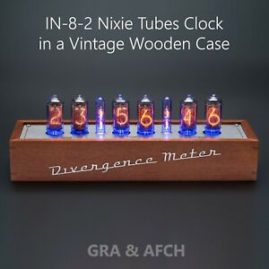 Nixie Tube Clock IN-8-2 in Vintage Wooden Case 12/24H Slot Machine FREE SHIPPING