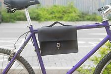 "Bike Frame Satchel Bag Handcrafted Natural Leather BLACK 11.8""x8.1""x2.2"" Bicycle"
