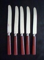 Lot of 5 Vintage Universal Stainless Red Handled Bakelite Knives