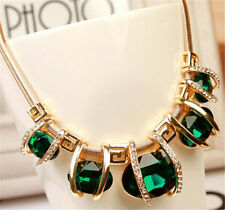 Deluxe Fashion Crystal Choker Chunky Jewelry Women Chain Pendant Bib Necklace
