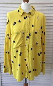 Sainsburys TU Size 22 Yellow Blouse Shirt Black Cream Brush Paint Pattern