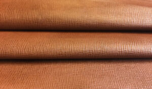 Brown Leather Hide Genuine Goat Skin Textured Upholstery Material DIY Fabric 722