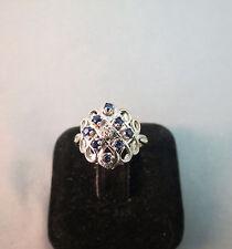 14k White Gold Diamond 8 Sapphire Ring Marked Exquisite 3.27g Size 5.25 Filigree