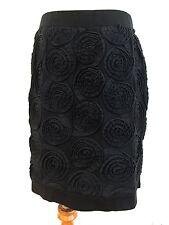 Marc by Marc Jacobs Tube Skirt Black Cotton w/ Applique Floral Size M