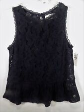 NEW!~NWT!~ABERCROMBIE KIDS~BLACK LACE SLEEVELESS SHIRT TOP BLOUSE~GIRLS LARGE/L