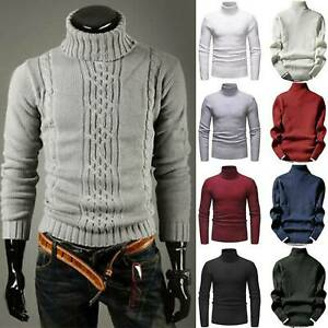 Winter Mens Warm Knitted Sweater Polo Roll Turtle Neck Pullover Jumper Tops Size