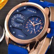 Luxus Mode Herrenuhr Sport Militär Uhren Edelstahl Leder Armbanduhren Schwarz
