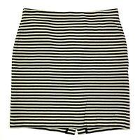 Talbots cotton striped textured knit pencil skirt cream dark navy blue size 14