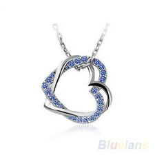 New Style Jewelry Gift Charming Silver Plated 2 Heart Crystal Pendant Necklace