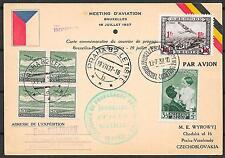Belgium covers 1937 Airmail PC Brussels to Prag