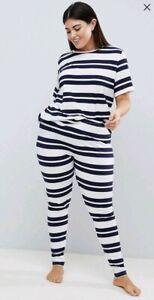 Asos Women's Curve Wide Stripe Short Sleeve Tee & Legging Pyjama size 18