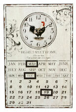 Vintage Shabby Distressed Design  Tin Rooster Calendar Home Kitchen Wall Clock