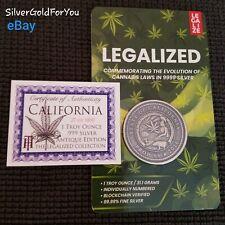 Block Chain Antique Edition 1oz Silver CALIFORNIA Legalized Cannabis Coin COA