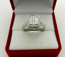 EXQUISITE INVISIBLE PRINCESS CUT HALO DIAMONDS 0.85 tcw 14k WHITE GOLD RING