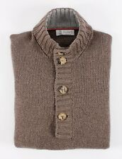 BRUNELLO CUCINELLI 100% CASHMERE - THICK 4 Button Sweater - Brown - 52 L Large
