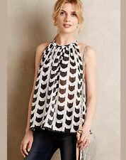 Anthropologie Top Small 2 4 Black White Graphic Cat Tunic Sheer Cotton HalterTie