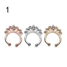 Encanto falso tabique Clicker nariz de cristal anillo Piercing no suspensiónF9