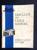 Leitz - Tabellen zur Leica Kamera - 1935 - Heft -  Classic-Camera-Store-Dresden