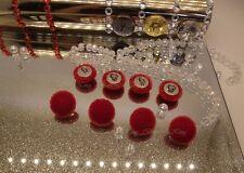 Juego 8 Botones cubierto de tela de terciopelo rojo Talla 15mm De Plata Metal Inglaterra.