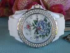 Ed Hardy Flower Swarovski Crystals Mother Of Pearl Dial White Silicone Watch