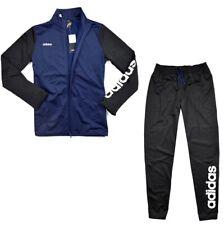 Adidas Kinder Trainingsanzug Sport Anzug Fußball Jogginganzug blau/schwarz [176]