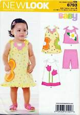 NEW LOOK SEWING PATTERN 6793 BABY SZ NB-L A-LINE DRESS TOP CROPPED PANTS/SHORTS