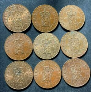 Old DUTCH EAST INDIES - 1945 - 2 1/2 Cents - High Quality - Lot #A1