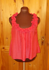 TOPSHOP coral pink silk sleeveless camisole vest tunic top frill ruffle 8 36