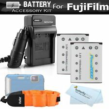 2 Pack Battery And Charger Kit For Fujifilm FinePix XP70 XP80 XP90 XP120 Wate...