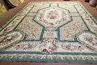 9x12 Needlepoint Rug Flatweave Aubusson Carpet One-of-a-Kind Hand-Knotted Wool