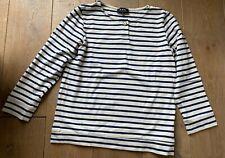 A.P.C. thick cotton marinière striped t-shirt blue off-white 3/4 sleeves size M