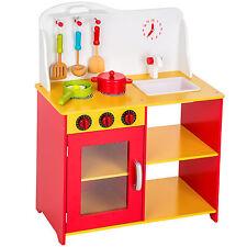 Kinderküche aus Holz mit Zubehör Kinderspielküche Spielküche Küche rot gelb