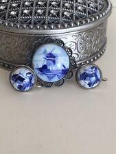 Vintage Delft Dutch Porcelain Silver Blue Windmill Screwback Earrings + Brooch