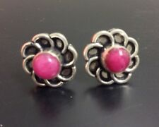 Ruby Quartz & 925 Sterling Silver Stylish Post Flower Earrings 15mm (h)