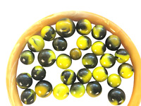 Lot of 29 BUMBLEBEE Black & Yellow MARBLES Inc 1 Shooter & 1 Teeny One Varied Sz