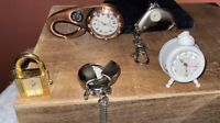 VINTAGE Unique Watch & Clock Lot Michelle Swiss 17j Mini Alarm