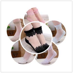 Women Short Socks Lace Sock Cute Ultrathin Transparent Beautiful Crystal Elastic