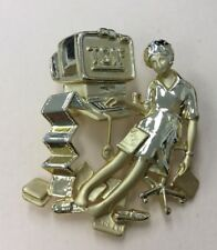 Vintage AJC Costume Gold Tone TGIF Funny Office Themed Pin XBW2