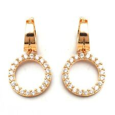 Banquet Jewelry Earrings 24K Gold Filled Circle C.Z Stone Women's Hoop Earrings
