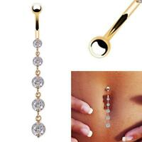Beauty Crystal Dangle Navel Belly Button Ring Bar Body Piercing Jewelry Round GA