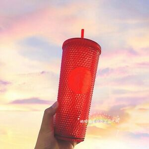 Starbucks 2020 China Christmas Red Studded 24oz Diamond Cold Water Cup Tumbler