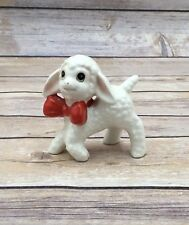 Vintage Ceramic Japan Lamb Sheep Animal Figure Red Bow Happy Lamb 3""