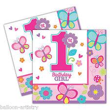 16 sweet pink butterfly girl's 1ère Fête D'anniversaire jetables 33 cm serviettes en papier