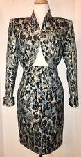 Vtg ANDREA ODICINI NEIMAN MARCUS Blue Black Gold Leopard Skirt Suit 42 / S / 4-6